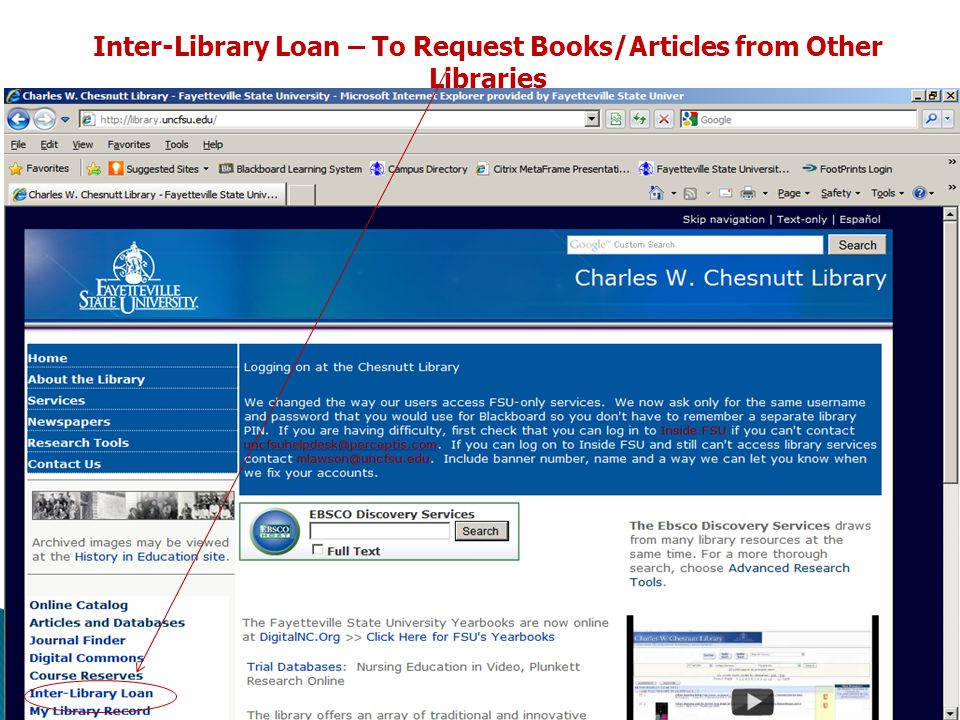 Inter-Library Loan – To Request Books/Articles from Other Libraries