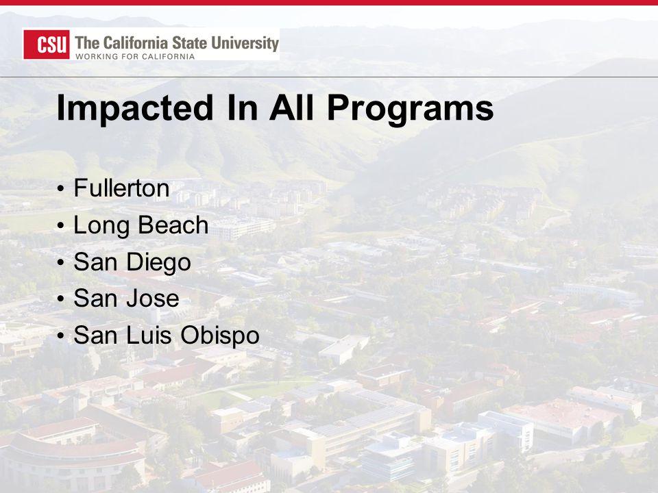 Impacted In All Programs Fullerton Long Beach San Diego San Jose San Luis Obispo