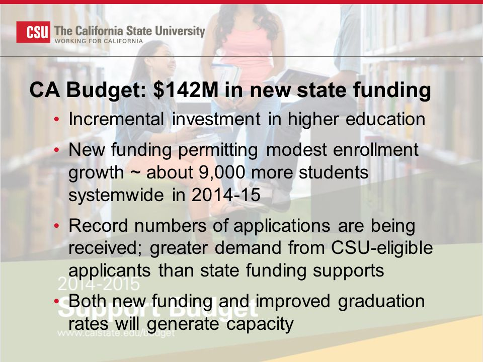 CA Budget: $142M in new state funding Incremental investment in higher education New funding permitting modest enrollment growth ~ about 9,000 more students systemwide in 2014-15 Record numbers of applications are being received; greater demand from CSU-eligible applicants than state funding supports Both new funding and improved graduation rates will generate capacity
