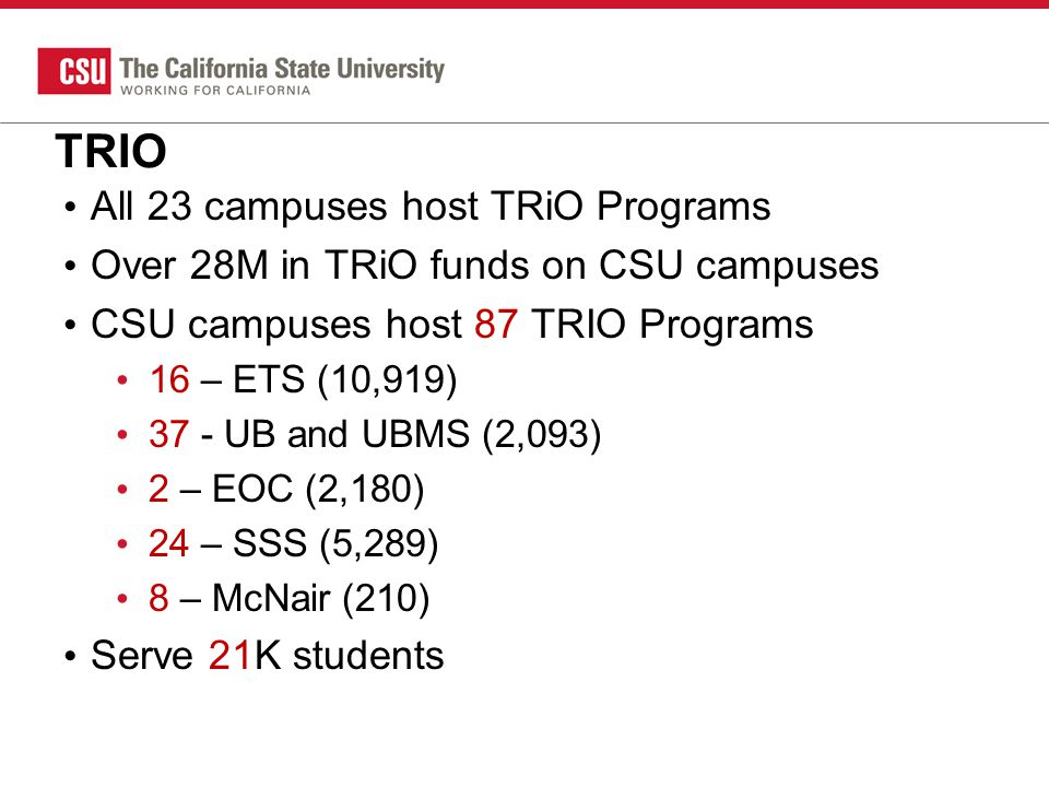 TRIO All 23 campuses host TRiO Programs Over 28M in TRiO funds on CSU campuses CSU campuses host 87 TRIO Programs 16 – ETS (10,919) 37 - UB and UBMS (2,093) 2 – EOC (2,180) 24 – SSS (5,289) 8 – McNair (210) Serve 21K students