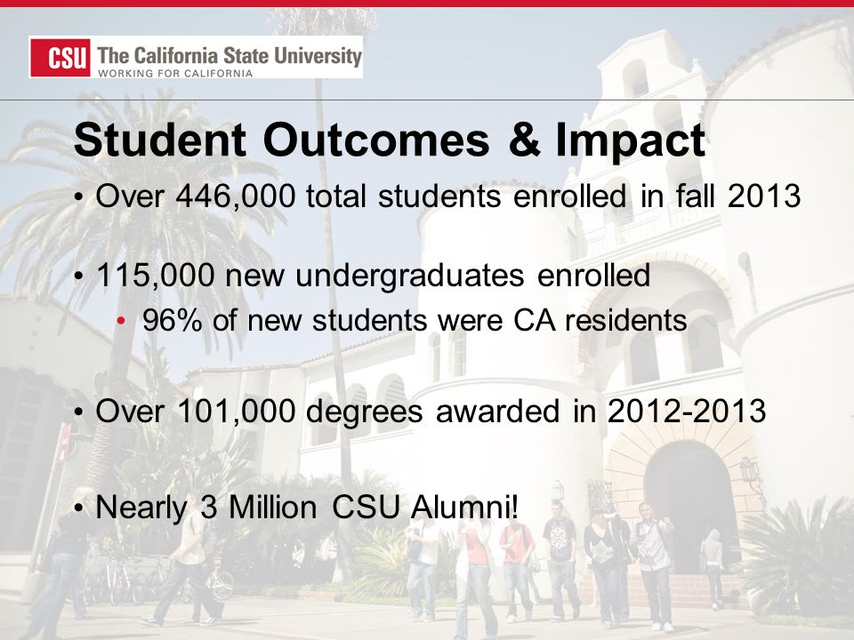 Student Outcomes & Impact Over 446,000 total students enrolled in fall 2013 115,000 new undergraduates enrolled 96% of new students were CA residents