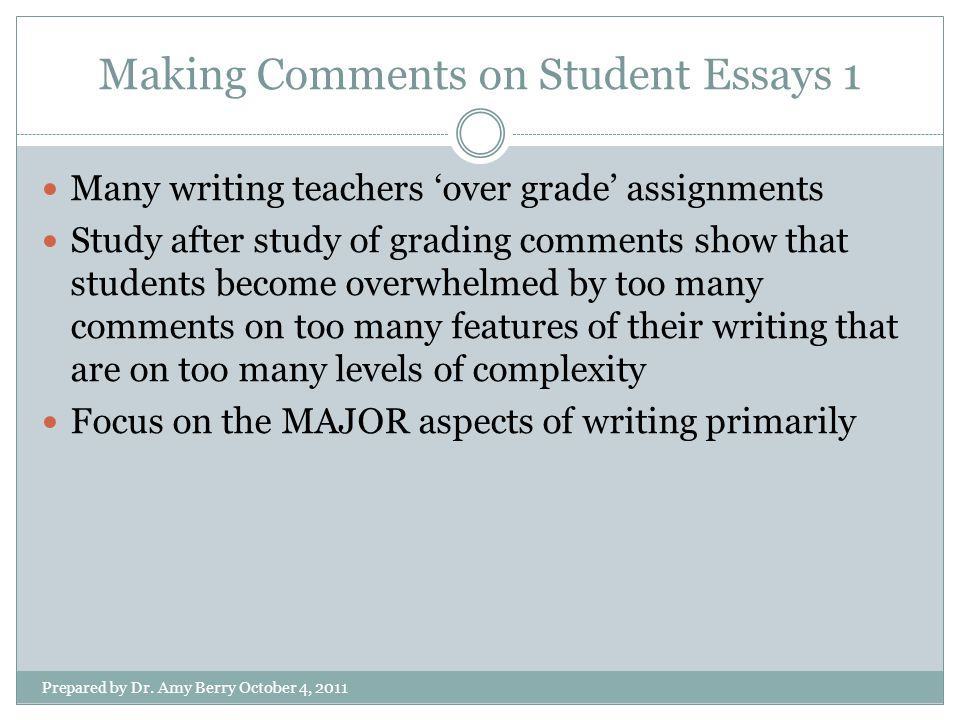 Making Comments on Student Essays 1 Prepared by Dr.
