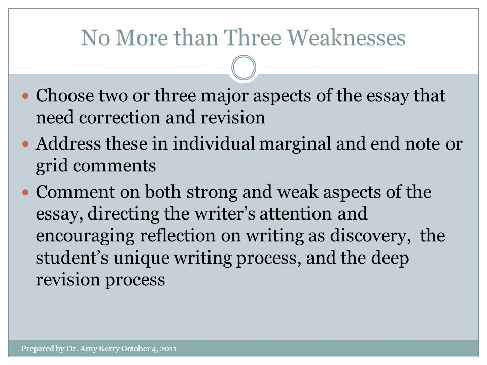 No More than Three Weaknesses Prepared by Dr.