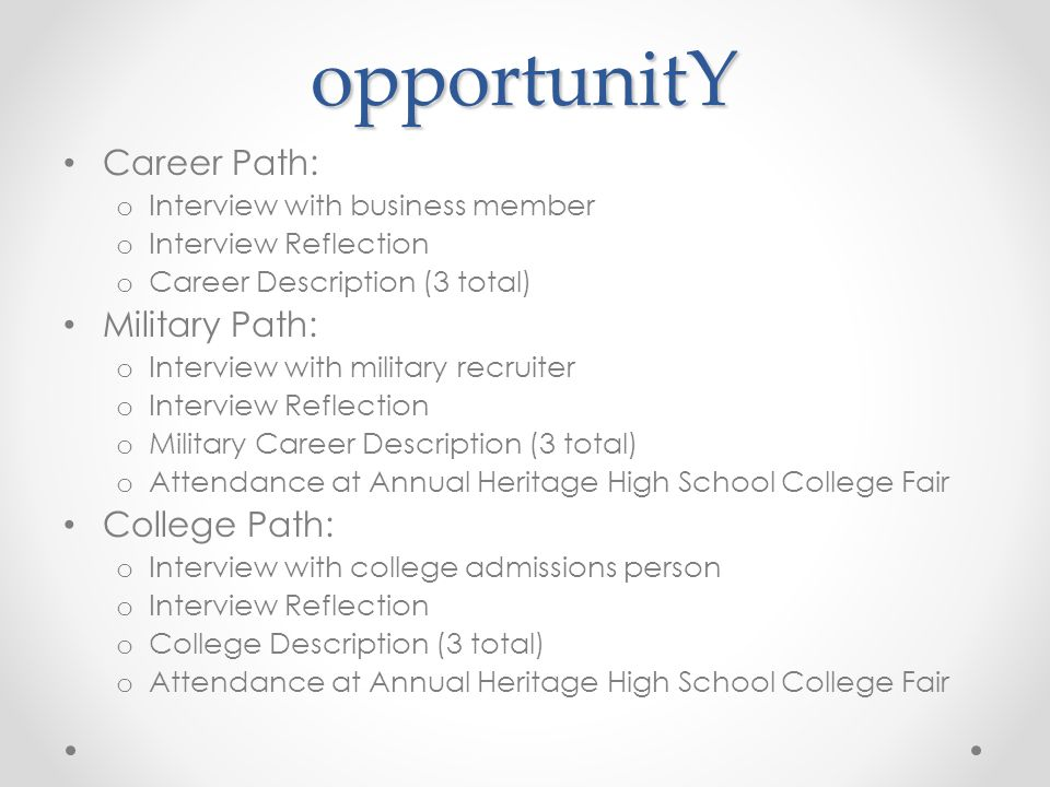 opportunitY Career Path: o Interview with business member o Interview Reflection o Career Description (3 total) Military Path: o Interview with milita