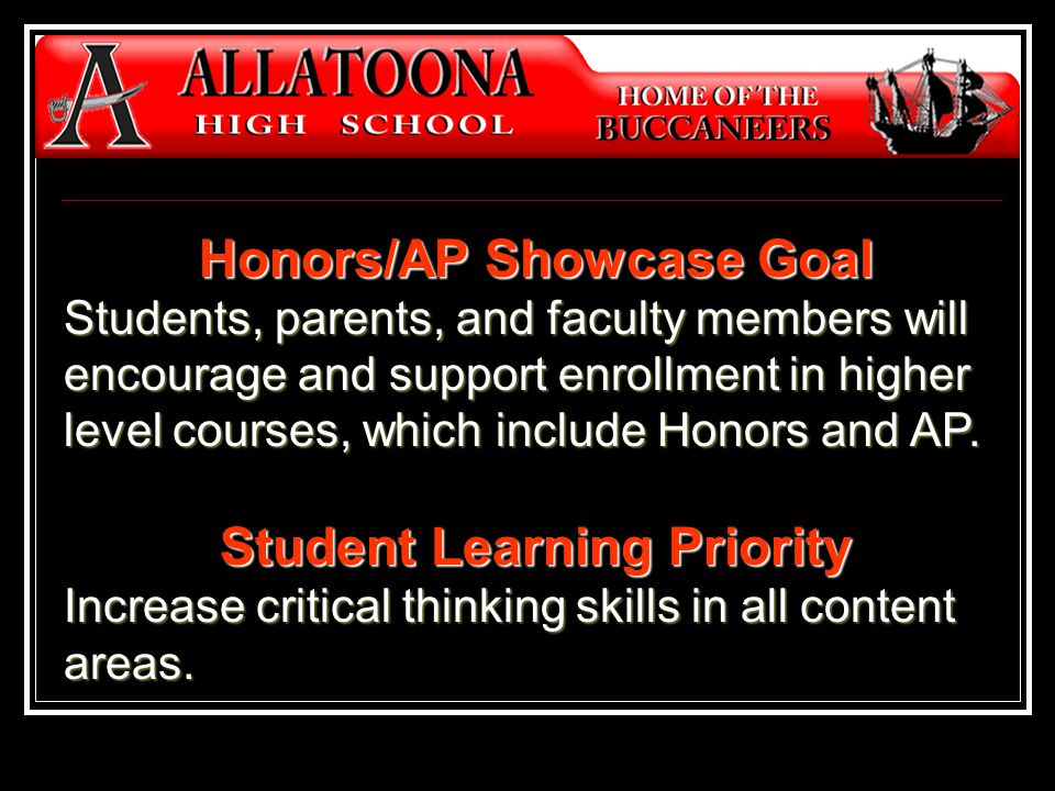 Honors/AP Showcase Goal Students, parents, and faculty members will encourage and support enrollment in higher level courses, which include Honors and AP.