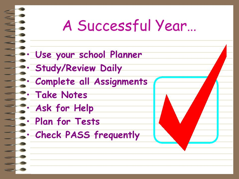 A Successful Year… Use your school Planner Study/Review Daily Complete all Assignments Take Notes Ask for Help Plan for Tests Check PASS frequently