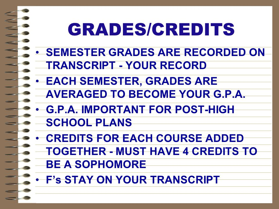 GRADES/CREDITS SEMESTER GRADES ARE RECORDED ON TRANSCRIPT - YOUR RECORD EACH SEMESTER, GRADES ARE AVERAGED TO BECOME YOUR G.P.A. G.P.A. IMPORTANT FOR