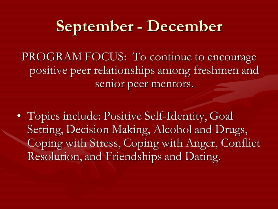 September - December PROGRAM FOCUS: To continue to encourage positive peer relationships among freshmen and senior peer mentors.