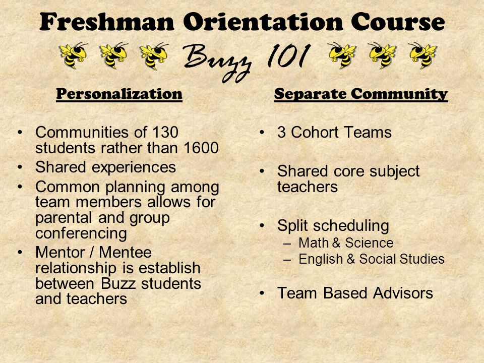 Personalization Communities of 130 students rather than 1600 Shared experiences Common planning among team members allows for parental and group conferencing Mentor / Mentee relationship is establish between Buzz students and teachers Separate Community 3 Cohort Teams Shared core subject teachers Split scheduling –Math & Science –English & Social Studies Team Based Advisors Freshman Orientation Course Buzz 101