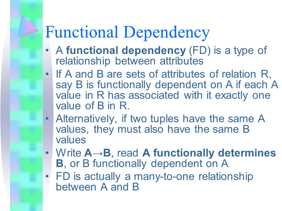 Functional Dependency A functional dependency (FD) is a type of relationship between attributes If A and B are sets of attributes of relation R, say B is functionally dependent on A if each A value in R has associated with it exactly one value of B in R.