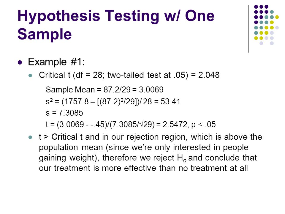Hypothesis Testing w/ One Sample Example #1: Critical t (df = 28; two-tailed test at.05) = 2.048 Sample Mean = 87.2/29 = 3.0069 s 2 = (1757.8 – [(87.2