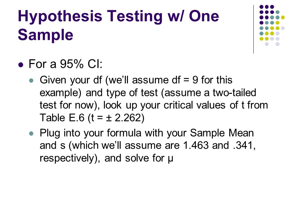 Hypothesis Testing w/ One Sample For a 95% CI: Given your df (we'll assume df = 9 for this example) and type of test (assume a two-tailed test for now
