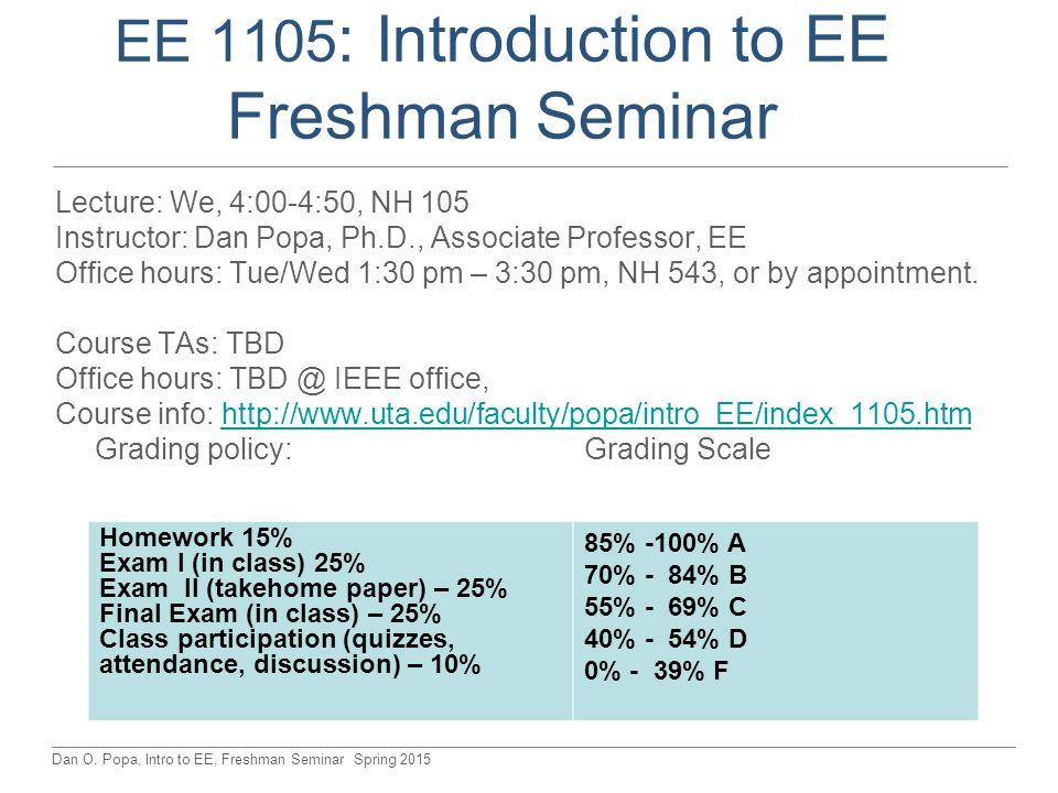 Dan O. Popa, Intro to EE, Freshman Seminar Spring 2015 EE 1105 : Introduction to EE Freshman Seminar Lecture: We, 4:00-4:50, NH 105 Instructor: Dan Po
