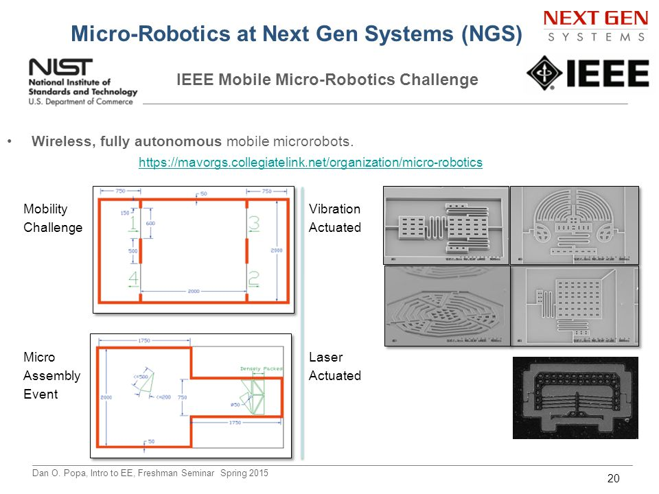 Dan O. Popa, Intro to EE, Freshman Seminar Spring 2015 Micro-Robotics at Next Gen Systems (NGS) IEEE Mobile Micro-Robotics Challenge Wireless, fully a