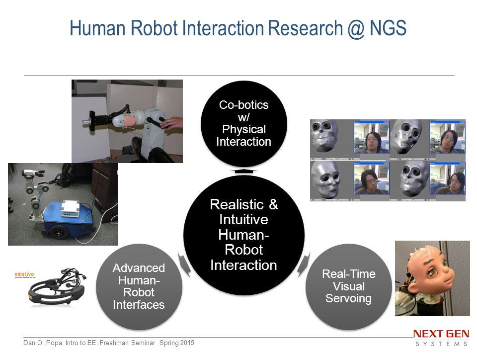 Dan O. Popa, Intro to EE, Freshman Seminar Spring 2015 Realistic & Intuitive Human- Robot Interaction Co-botics w/ Physical Interaction Real-Time Visu