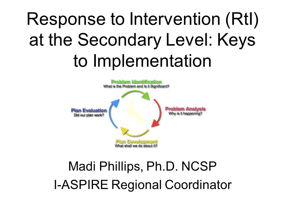 Response to Intervention (RtI) at the Secondary Level: Keys to Implementation Madi Phillips, Ph.D.