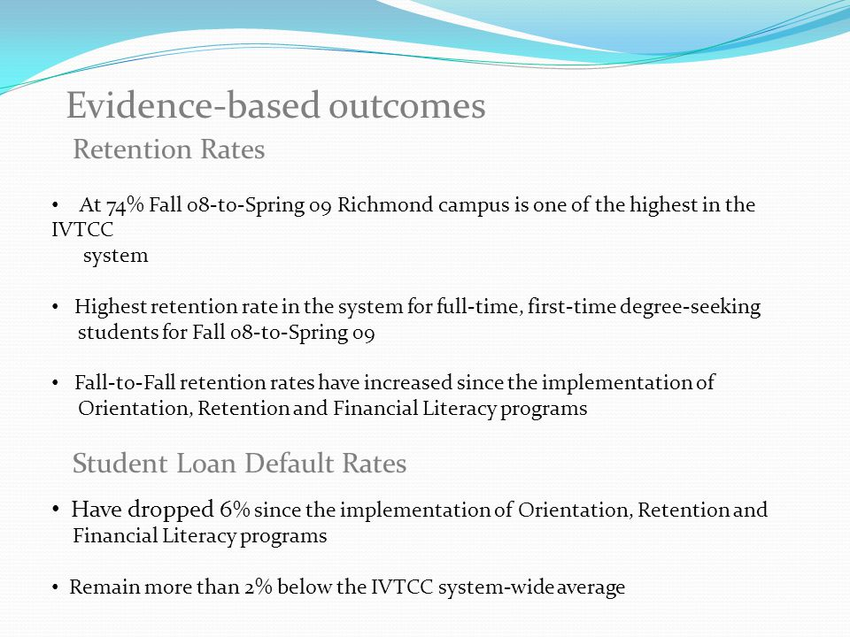 Retention Rates At 74% Fall 08-to-Spring 09 Richmond campus is one of the highest in the IVTCC system Highest retention rate in the system for full-time, first-time degree-seeking students for Fall 08-to-Spring 09 Fall-to-Fall retention rates have increased since the implementation of Orientation, Retention and Financial Literacy programs Student Loan Default Rates Have dropped 6 % since the implementation of Orientation, Retention and Financial Literacy programs Remain more than 2% below the IVTCC system-wide average Evidence-based outcomes