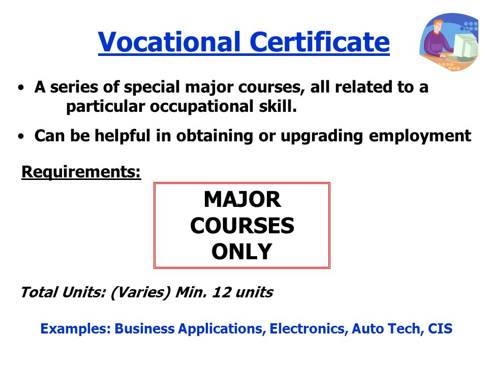 Vocational Certificate MAJOR COURSES ONLY A series of special major courses, all related to a particular occupational skill.