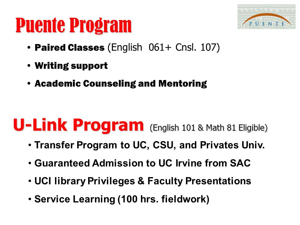 Puente Program Paired Classes (English 061+ Cnsl.