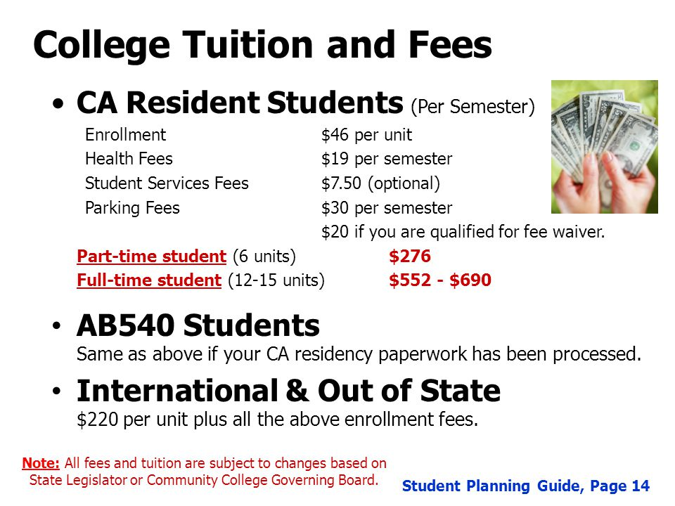 College Tuition and Fees CA Resident Students (Per Semester) Enrollment$46 per unit Health Fees$19 per semester Student Services Fees$7.50 (optional) Parking Fees$30 per semester $20 if you are qualified for fee waiver.