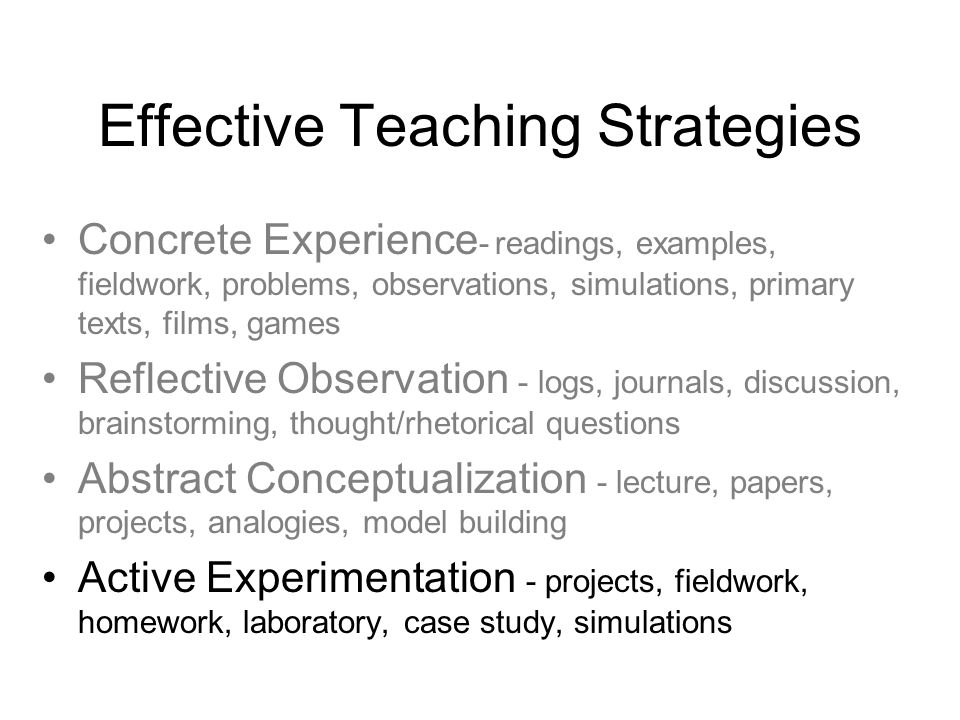 Effective Teaching Strategies Concrete Experience - readings, examples, fieldwork, problems, observations, simulations, primary texts, films, games Reflective Observation - logs, journals, discussion, brainstorming, thought/rhetorical questions Abstract Conceptualization - lecture, papers, projects, analogies, model building Active Experimentation - projects, fieldwork, homework, laboratory, case study, simulations