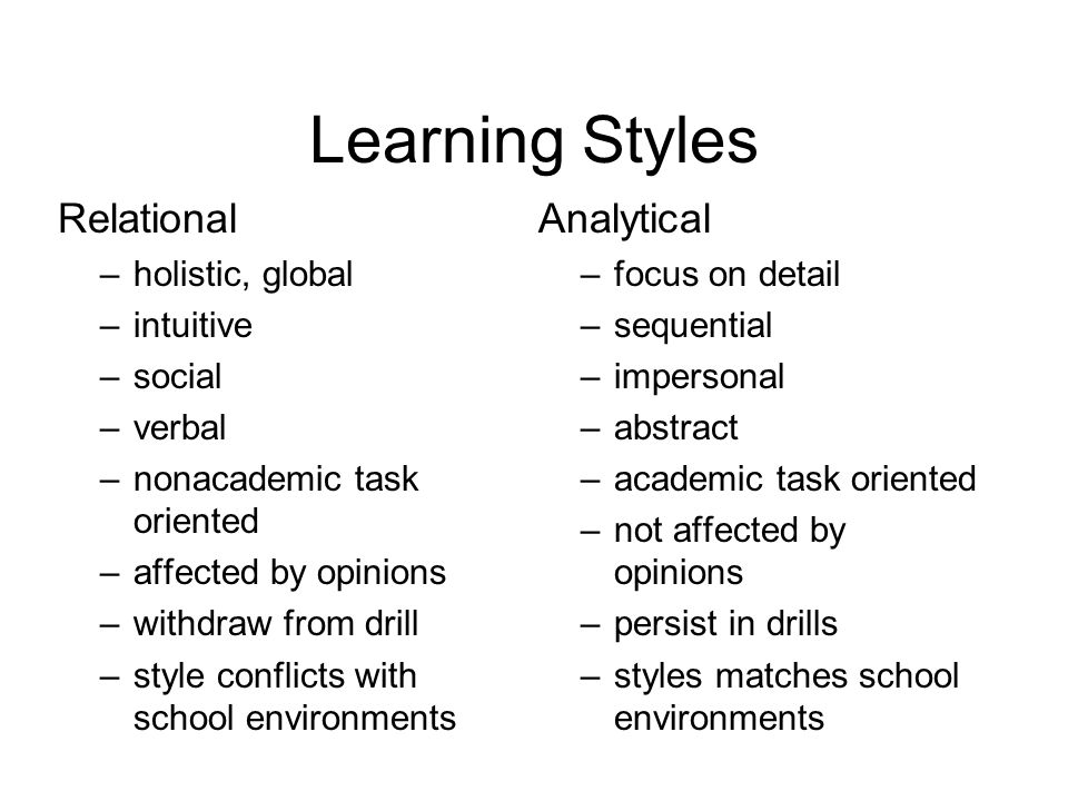 Learning Styles Relational –holistic, global –intuitive –social –verbal –nonacademic task oriented –affected by opinions –withdraw from drill –style conflicts with school environments Analytical –focus on detail –sequential –impersonal –abstract –academic task oriented –not affected by opinions –persist in drills –styles matches school environments