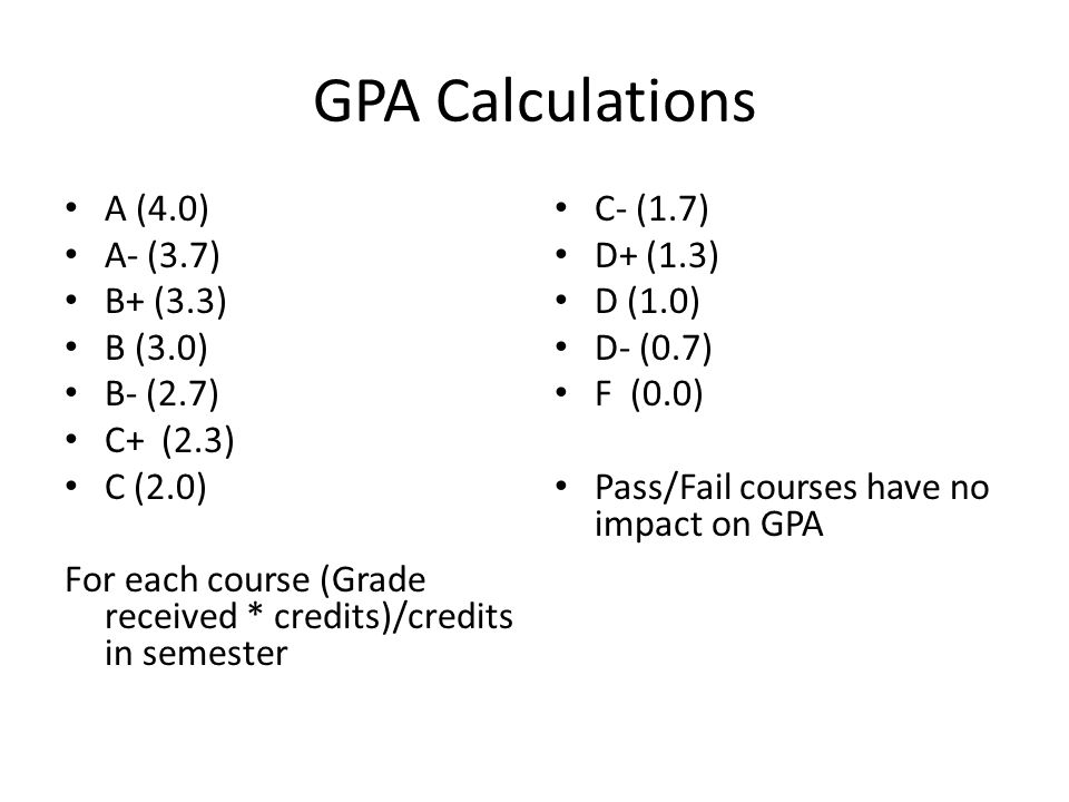 GPA Calculations A (4.0) A- (3.7) B+ (3.3) B (3.0) B- (2.7) C+ (2.3) C (2.0) For each course (Grade received * credits)/credits in semester C- (1.7) D+ (1.3) D (1.0) D- (0.7) F (0.0) Pass/Fail courses have no impact on GPA
