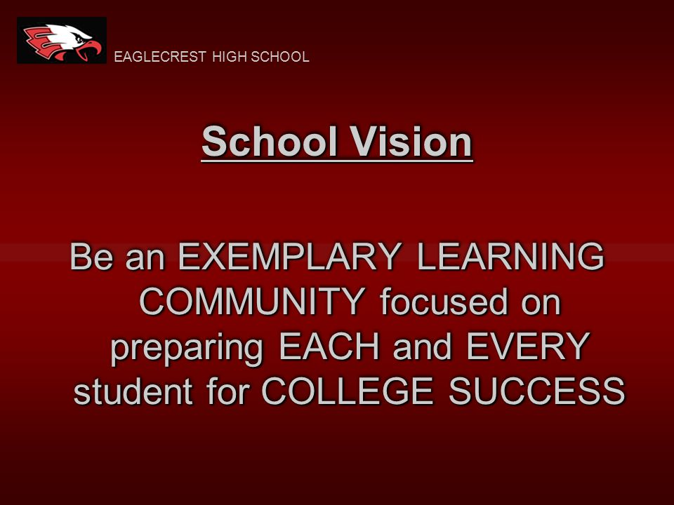 School Vision Be an EXEMPLARY LEARNING COMMUNITY focused on preparing EACH and EVERY student for COLLEGE SUCCESS EAGLECREST HIGH SCHOOL