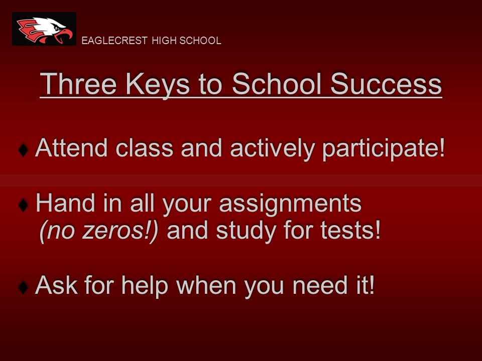 Three Keys to School Success  Attend class and actively participate.