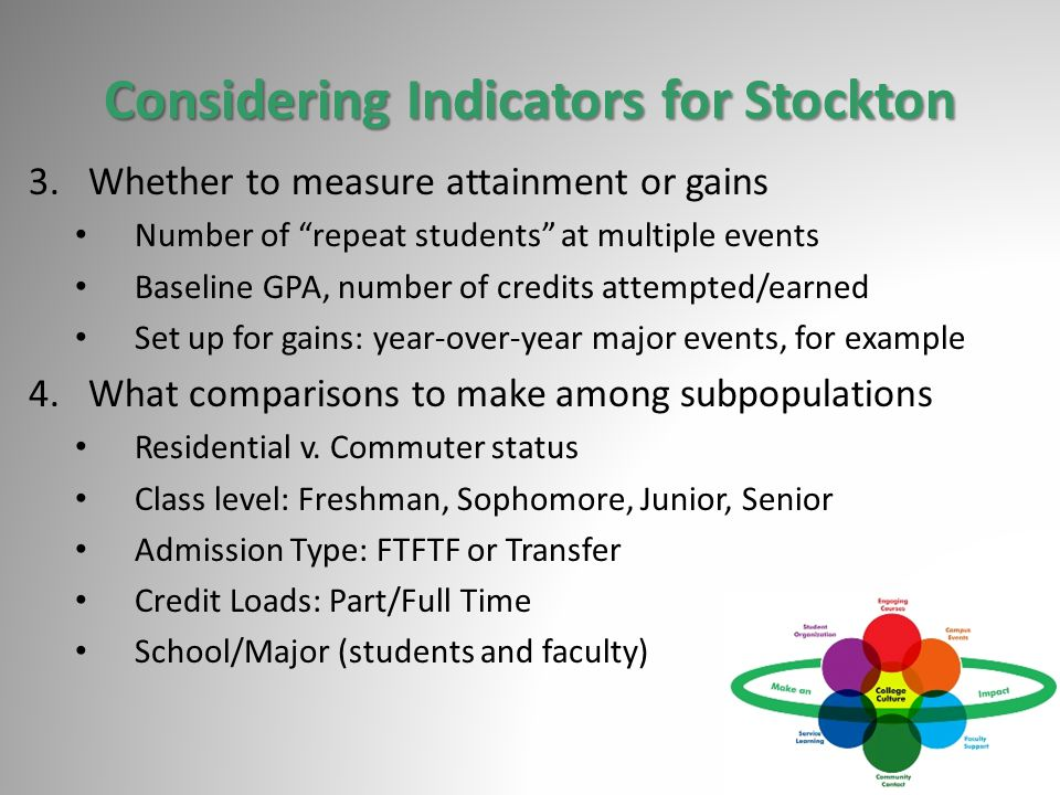 Considering Indicators for Stockton 3.Whether to measure attainment or gains Number of repeat students at multiple events Baseline GPA, number of credits attempted/earned Set up for gains: year-over-year major events, for example 4.What comparisons to make among subpopulations Residential v.