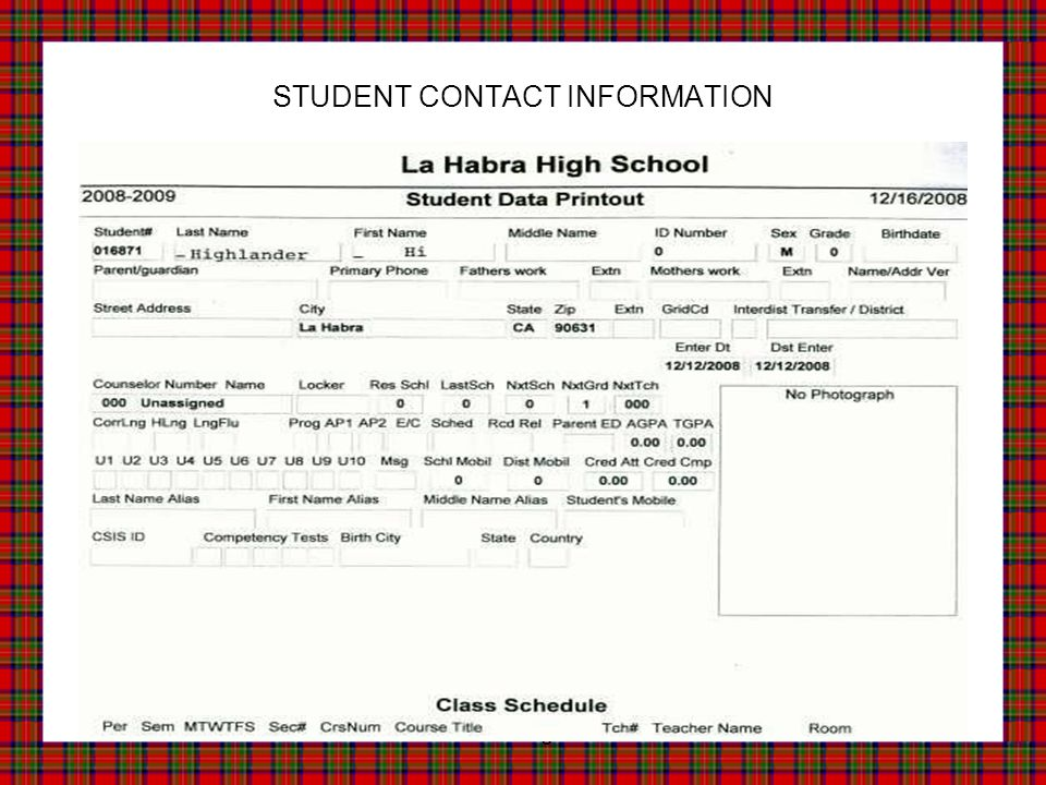 Home of the Highlanders! STUDENT CONTACT INFORMATION