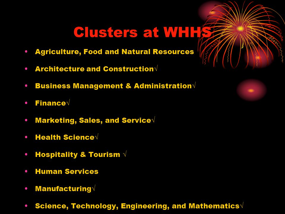 Clusters at WHHS Agriculture, Food and Natural Resources Architecture and Construction√ Business Management & Administration√ Finance√ Marketing, Sales, and Service√ Health Science√ Hospitality & Tourism √ Human Services Manufacturing√ Science, Technology, Engineering, and Mathematics√