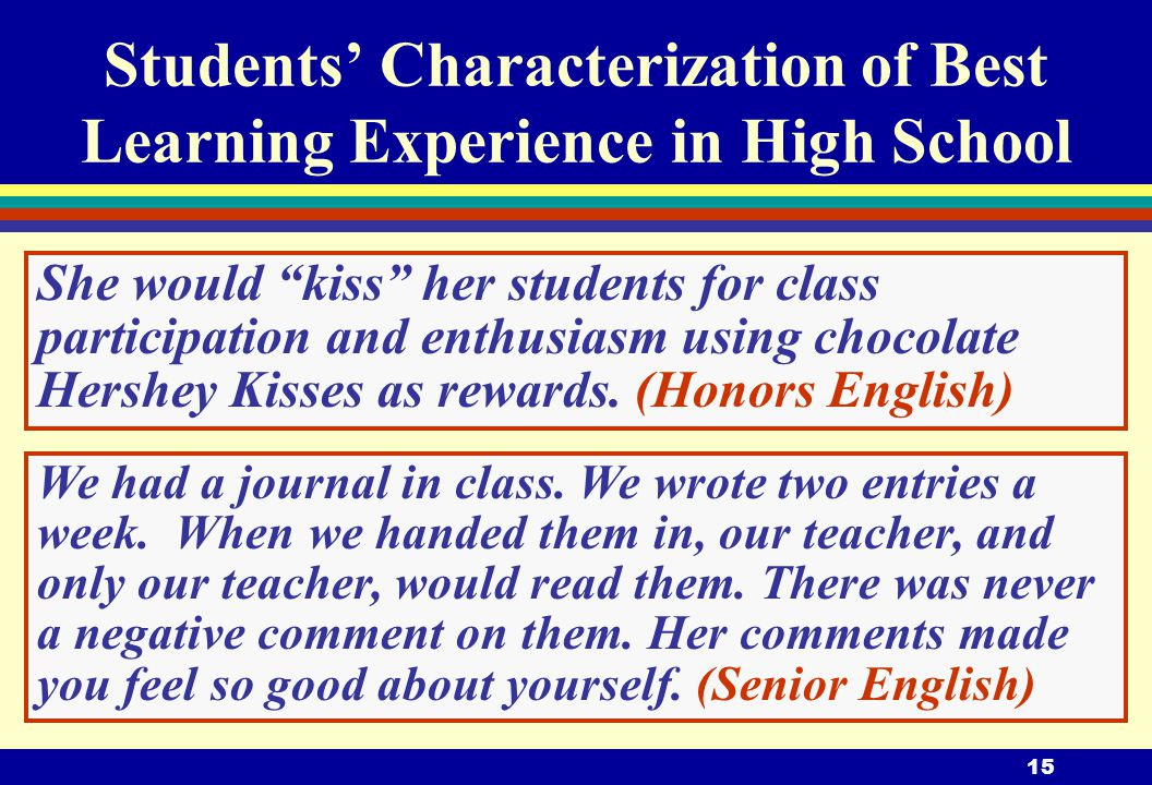 15 She would kiss her students for class participation and enthusiasm using chocolate Hershey Kisses as rewards.