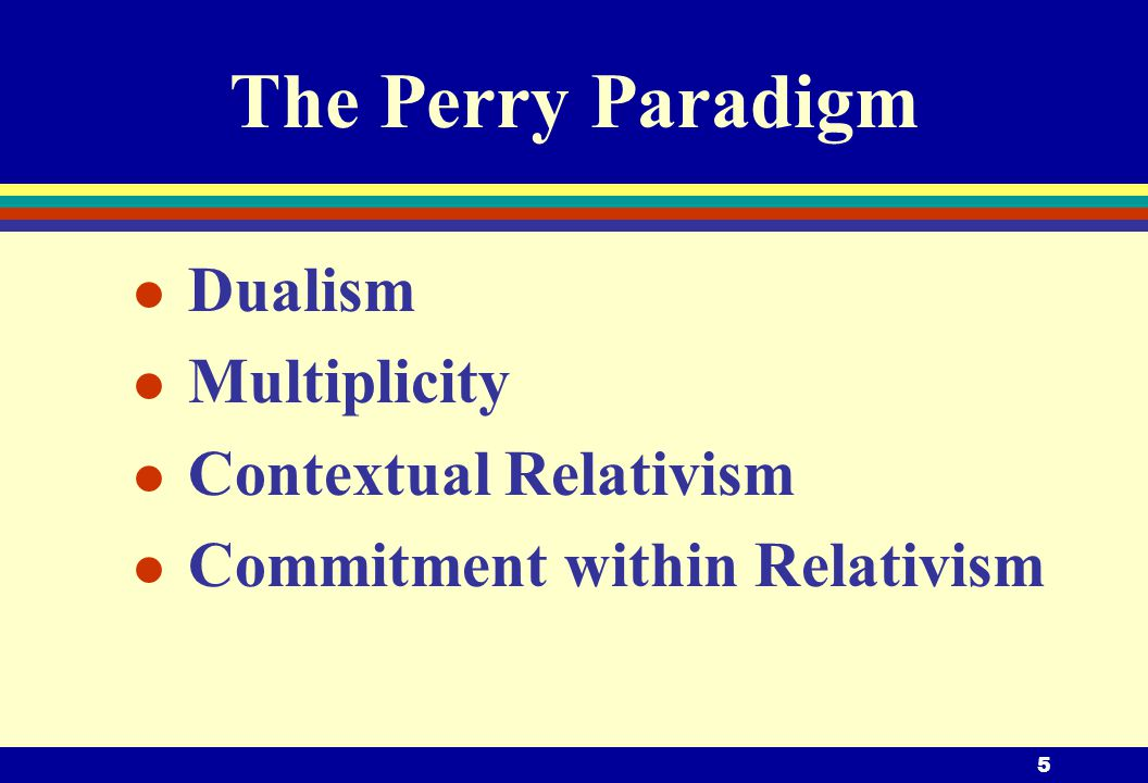5 The Perry Paradigm l Dualism l Multiplicity l Contextual Relativism l Commitment within Relativism