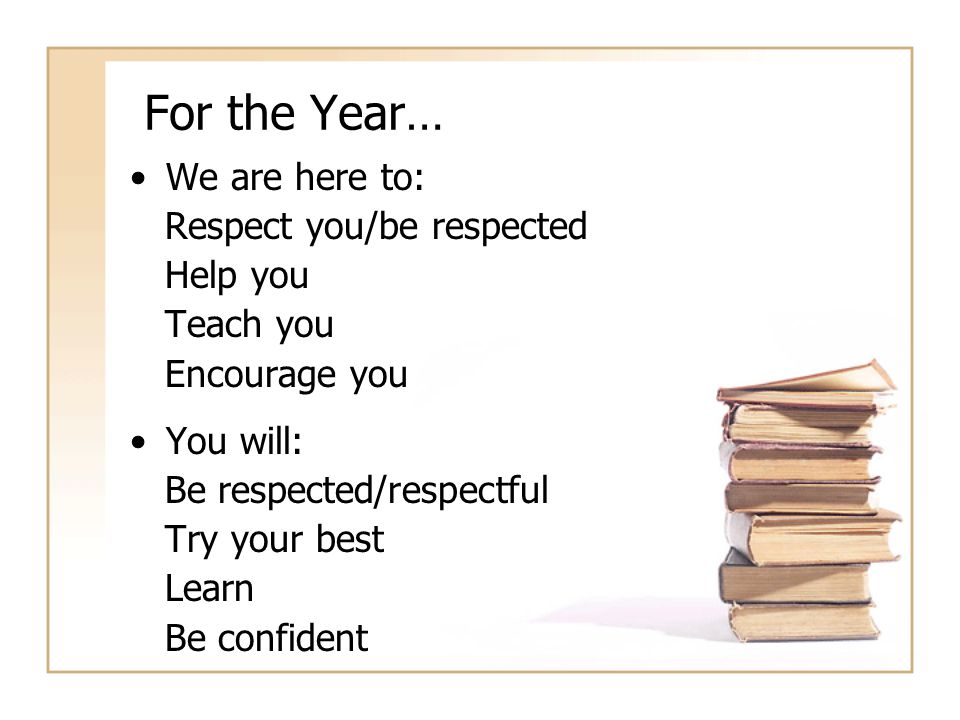 For the Year… We are here to: Respect you/be respected Help you Teach you Encourage you You will: Be respected/respectful Try your best Learn Be confident