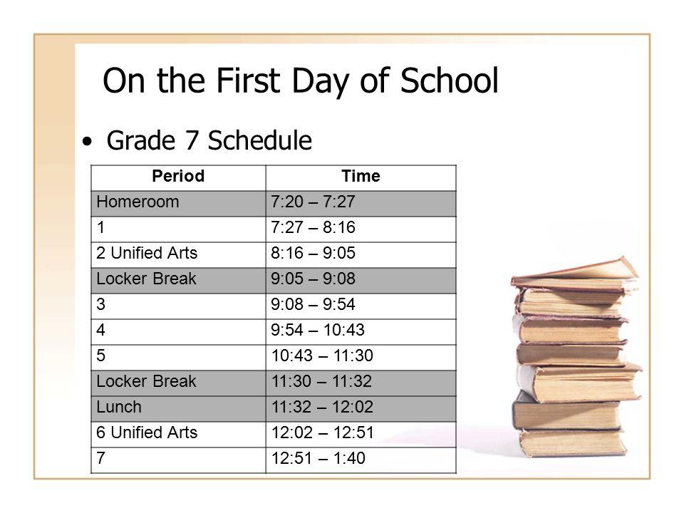 On the First Day of School Grade 7 Schedule PeriodTime Homeroom7:20 – 7:27 17:27 – 8:16 2 Unified Arts8:16 – 9:05 Locker Break9:05 – 9:08 39:08 – 9:54