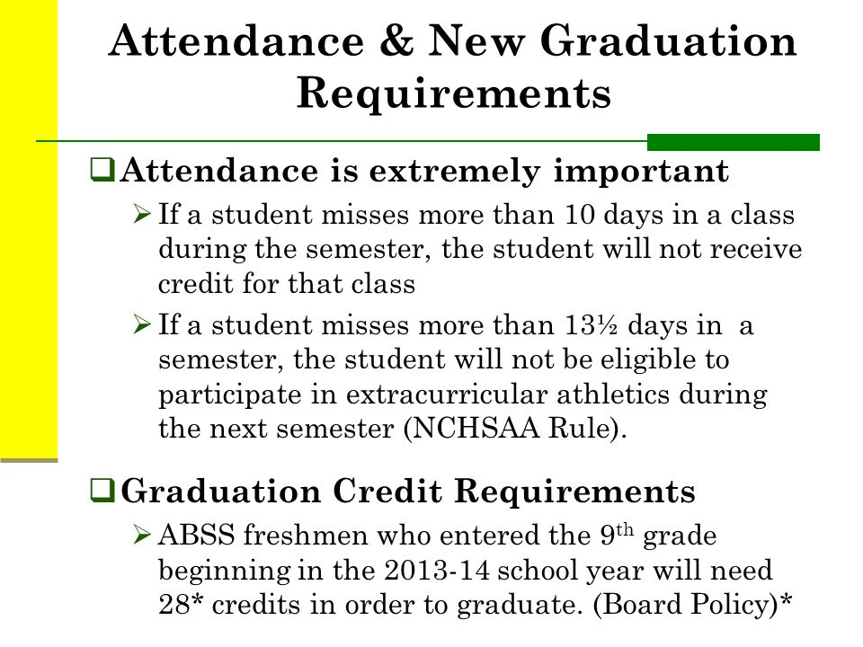 Attendance & New Graduation Requirements  Attendance is extremely important  If a student misses more than 10 days in a class during the semester, the student will not receive credit for that class  If a student misses more than 13½ days in a semester, the student will not be eligible to participate in extracurricular athletics during the next semester (NCHSAA Rule).