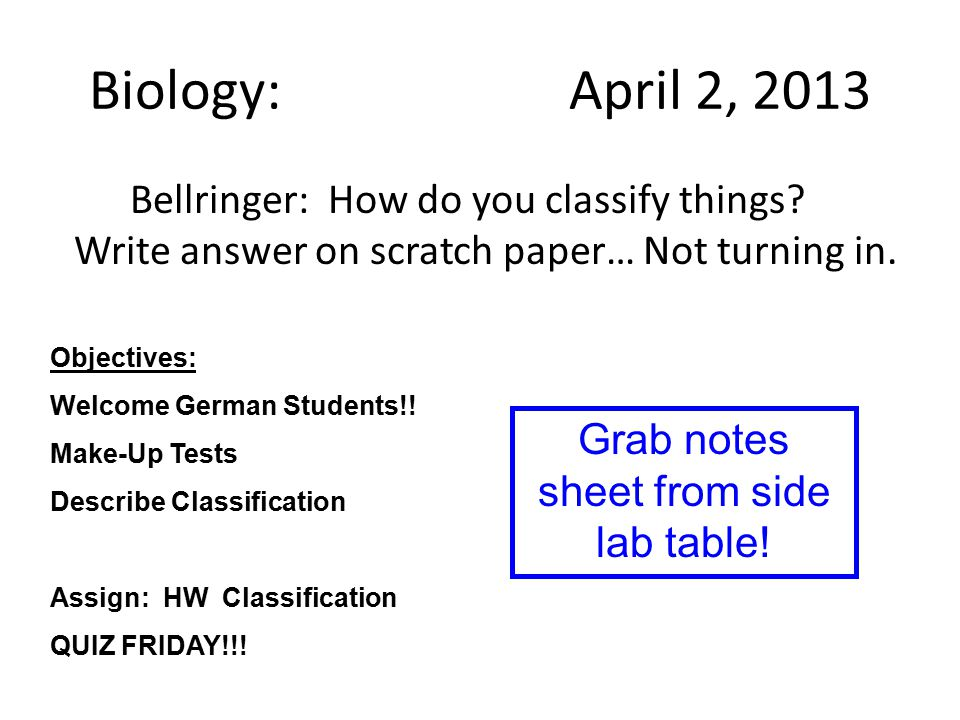 Biology: April 2, 2013 Bellringer: How do you classify things.