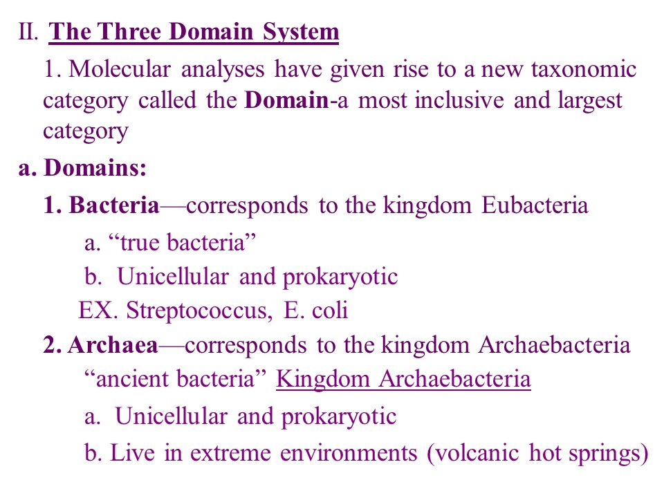 II. The Three Domain System 1.
