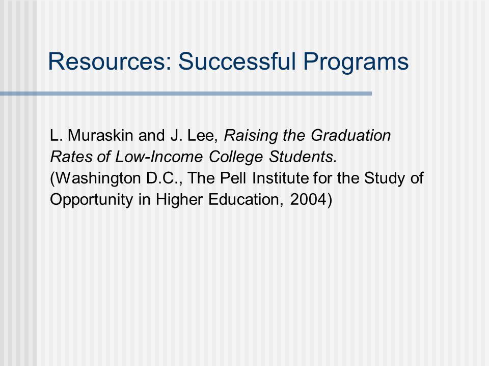 Resources: Successful Programs L. Muraskin and J.