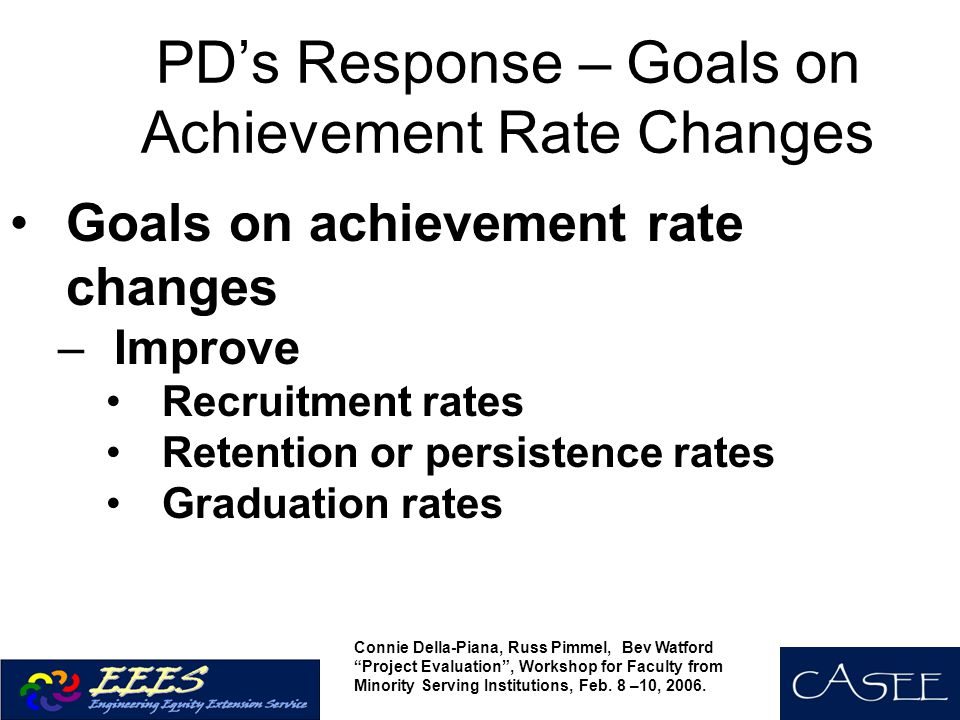 PD's Response – Goals on Achievement Rate Changes Goals on achievement rate changes –Improve Recruitment rates Retention or persistence rates Graduation rates Connie Della-Piana, Russ Pimmel, Bev Watford Project Evaluation , Workshop for Faculty from Minority Serving Institutions, Feb.