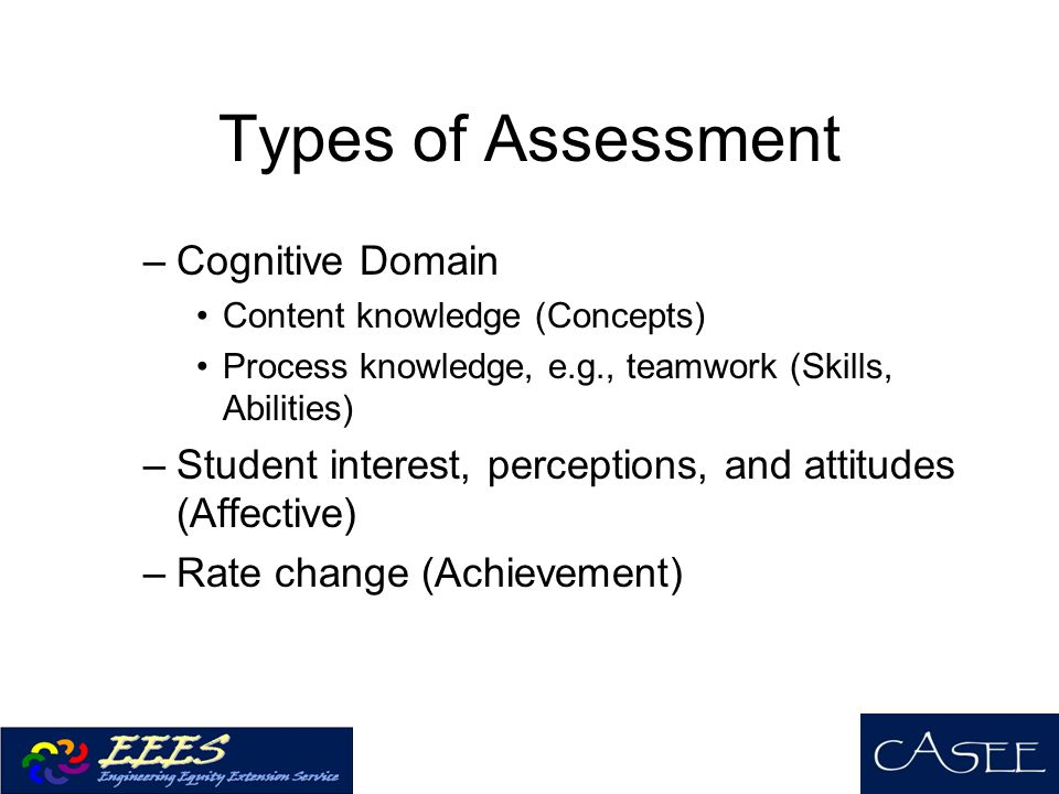 Types of Assessment –Cognitive Domain Content knowledge (Concepts) Process knowledge, e.g., teamwork (Skills, Abilities) –Student interest, perceptions, and attitudes (Affective) –Rate change (Achievement)