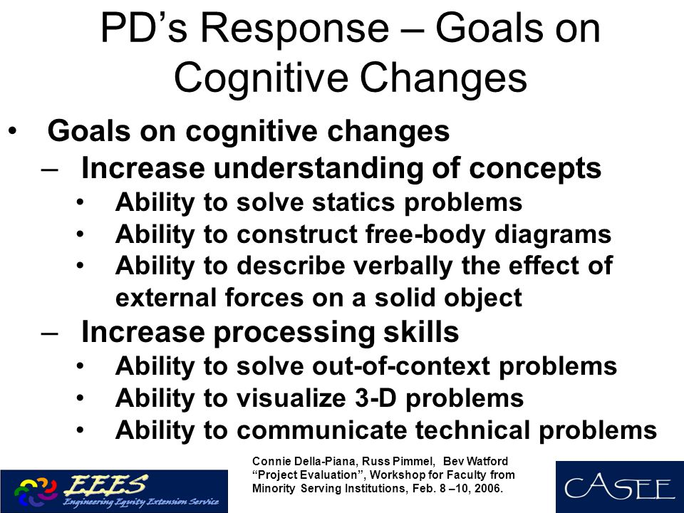 PD's Response – Goals on Cognitive Changes Goals on cognitive changes –Increase understanding of concepts Ability to solve statics problems Ability to construct free-body diagrams Ability to describe verbally the effect of external forces on a solid object –Increase processing skills Ability to solve out-of-context problems Ability to visualize 3-D problems Ability to communicate technical problems Connie Della-Piana, Russ Pimmel, Bev Watford Project Evaluation , Workshop for Faculty from Minority Serving Institutions, Feb.