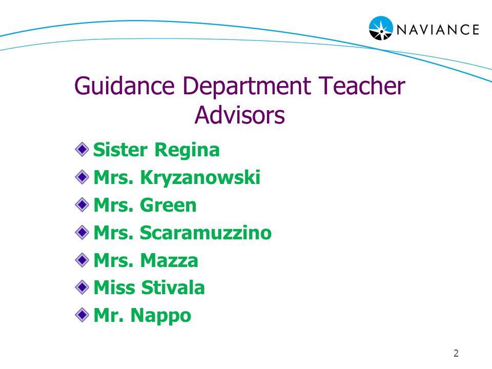 Guidance Department Teacher Advisors Sister Regina Mrs.