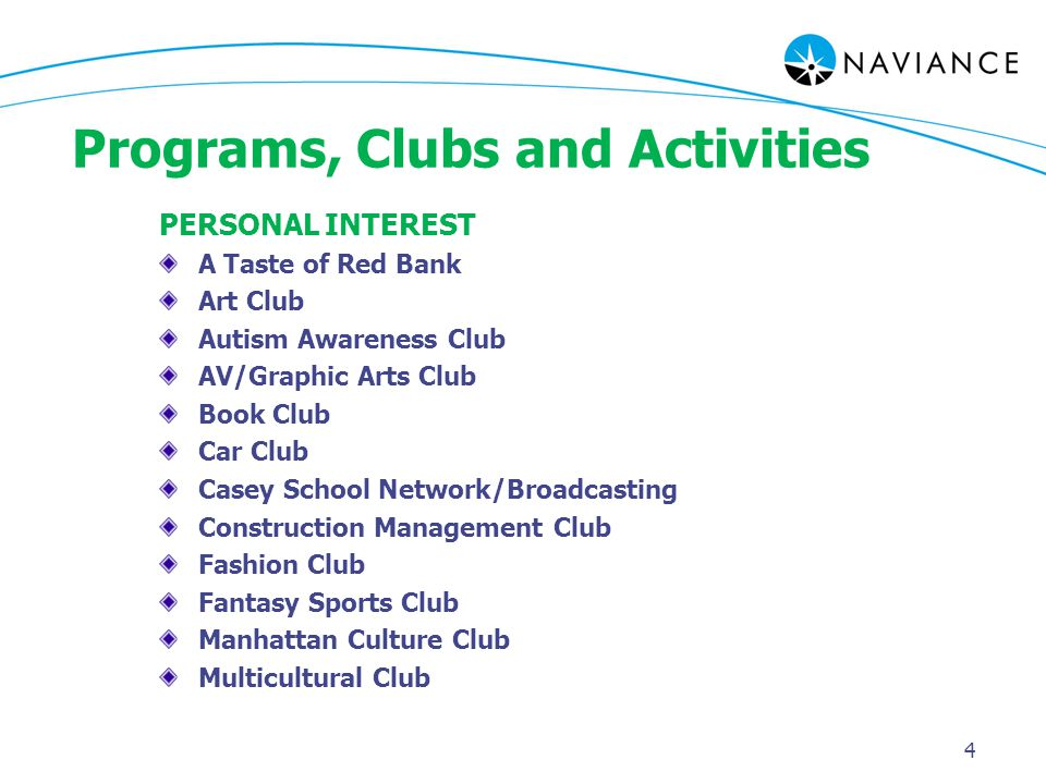 Programs, Clubs and Activities PERSONAL INTEREST A Taste of Red Bank Art Club Autism Awareness Club AV/Graphic Arts Club Book Club Car Club Casey School Network/Broadcasting Construction Management Club Fashion Club Fantasy Sports Club Manhattan Culture Club Multicultural Club 4