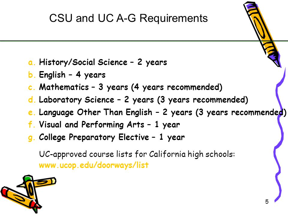 6 Students must meet the following: C or above in A-G courses 2.0 GPA for CSU and 3.0 for UC Fee waivers are available SAT and ACT Scores ELM and EPT scores ( CSU) College Admission Requirements