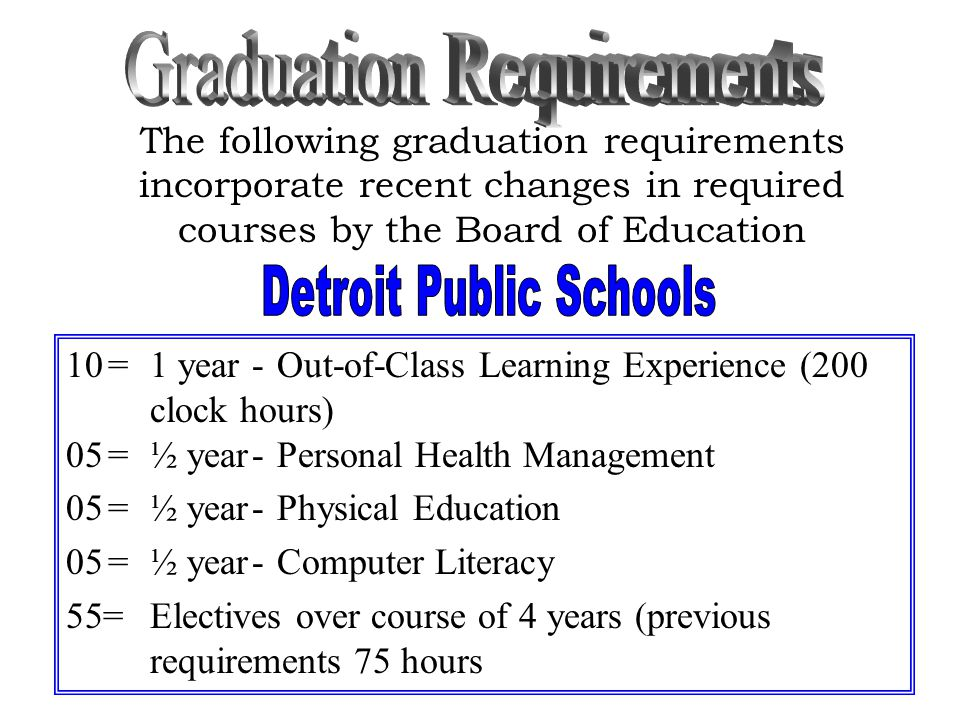 The following graduation requirements incorporate recent changes in required courses by the Board of Education 10=1 year-Out-of-Class Learning Experience (200 clock hours) 05=½ year-Personal Health Management 05=½ year-Physical Education 05=½ year-Computer Literacy 55=Electives over course of 4 years (previous requirements 75 hours