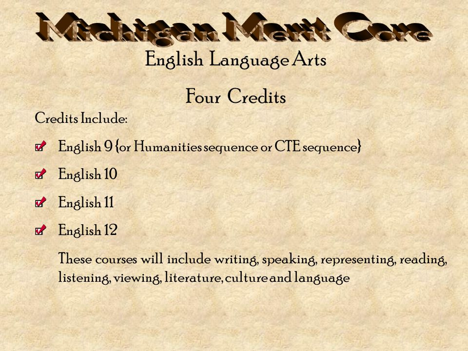 Credits Include: English 9 {or Humanities sequence or CTE sequence} English 10 English 11 English 12 These courses will include writing, speaking, representing, reading, listening, viewing, literature, culture and language English Language Arts Four Credits