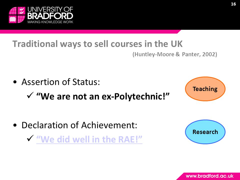 16 Traditional ways to sell courses in the UK (Huntley-Moore & Panter, 2002) Assertion of Status: We are not an ex-Polytechnic! Declaration of Achievement: We did well in the RAE! TeachingResearch