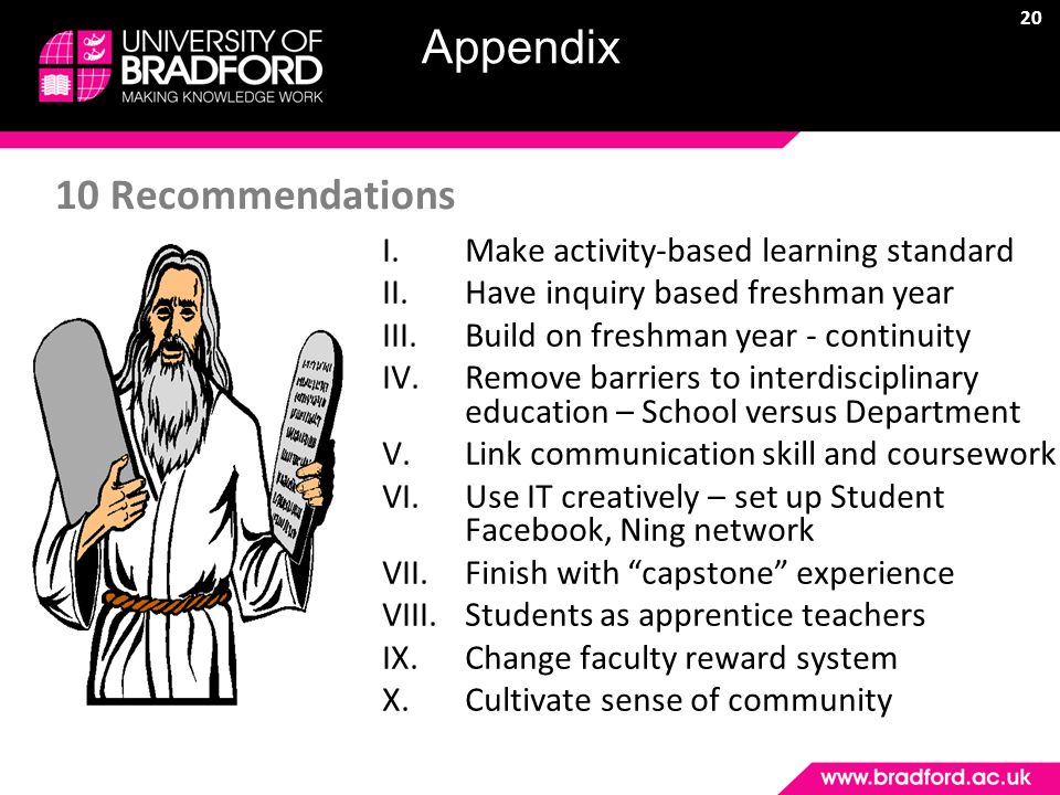 20 10 Recommendations I.Make activity-based learning standard II.Have inquiry based freshman year III.Build on freshman year - continuity IV.Remove barriers to interdisciplinary education – School versus Department V.Link communication skill and coursework VI.Use IT creatively – set up Student Facebook, Ning network VII.Finish with capstone experience VIII.Students as apprentice teachers IX.Change faculty reward system X.Cultivate sense of community Appendix